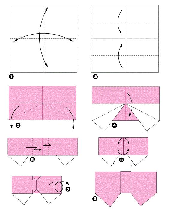 Как сделать бантик из бумаги схема